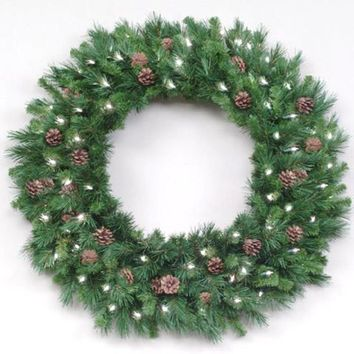 12' Pre-Lit Cheyenne with Pine Cones Commercial Christmas Wreath - Clear Lights