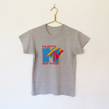 Vintage 1980s I've Got My MTV T-shirt / Grey Tri-Blend MTV Logo Tee
