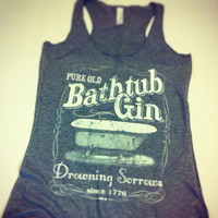 Vintage Pure Old Bathtub Gin Drowning Sorrows Gray Triblend Racerback Tank Top