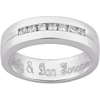 Walmart: Personalized Men's Engraved CZ Wedding Band in Sterling Silver