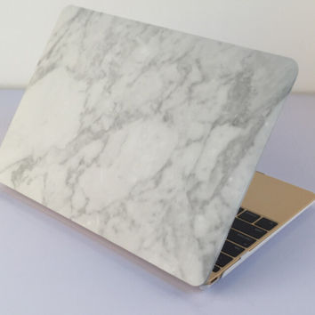 "White Marble MacBook Air 11"" 13"" Retina 13"" 15"" Pro 15"" 12""  Mac 12"" Case Cover, Novo Rubberized Hard Shell Gift"