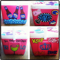 Personalized Cooler Hand Painted Beer Ice by PinkPaisleyPaintings