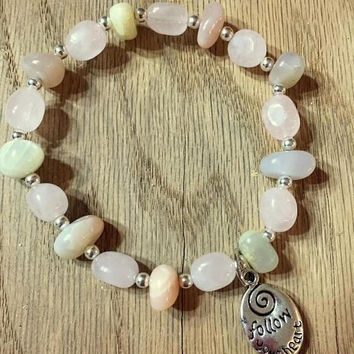 HOLIDAY SALE Moonstone Stretch Bracelet, Charm Bracelet, Women's Bracelet, Gemstone Bracelet, Healing Bracelet, Gift for her, Pick you charm