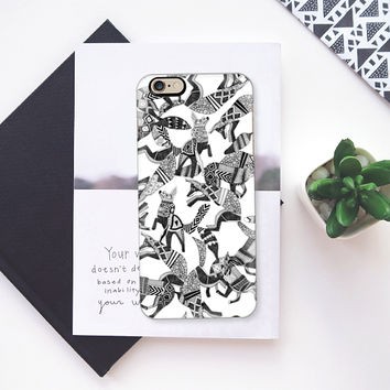 woodland fox party black white iPhone 6s case by Sharon Turner | Casetify