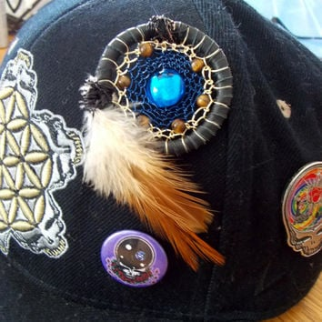 Heady Dream Catcher Hat Pin with Tigers Eye and Dichroic Glass