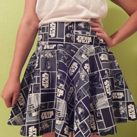 Navy Star Wars skirt - cartoon comic style - geeky and fun - Made to order
