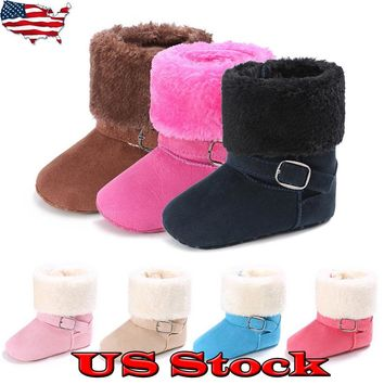 Warm Baby Girl Toddler Infant Winter Boots Fur Faux Shoes Cotton Snow Colors USA