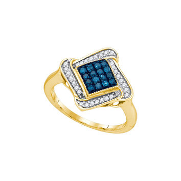 10kt Yellow Gold Womens Round Blue Colored Diamond Cluster Ring 1/3 Cttw 89590