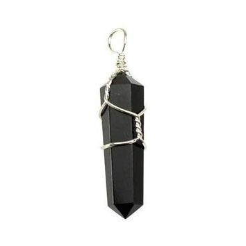Wire Wrapped Black Obsidian point