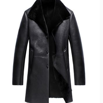 Sheepskin wool men's long business Genuine Leather Jacket Single-breasted Winter men Sheepskin Coat high quality