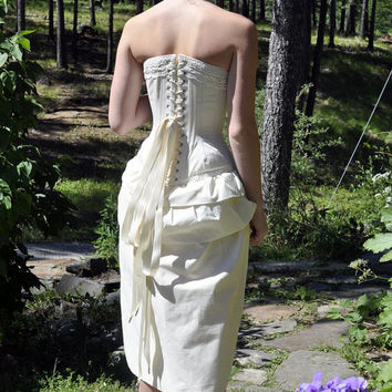 Rustic Wedding Dress- bustle skirt and corset, victorian boho bohemian rustic womens dress