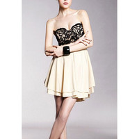 Strapless Pleated Mini Dress