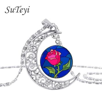 Rose Pendant Necklace  Moon  Valentine Day Gift