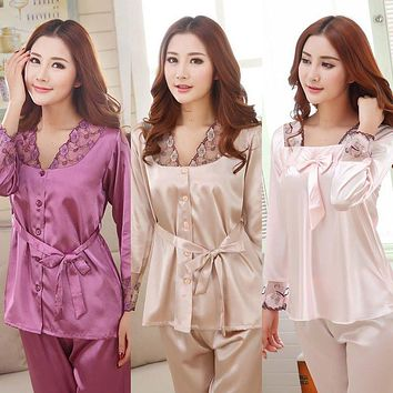 Women Pajamas Evening Wear Sexy Lingerie Spring Autumn Silk Sets Sleep Shorts Lady Nightdress Female Home Clothes Plus Size 3XL