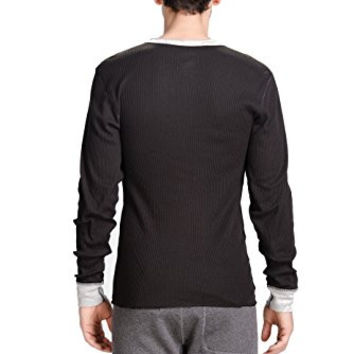 CYZ Men's Thermal Henley Shirt-Black-L