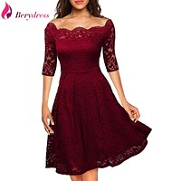 Berydress Elegant Womens Wedding Party Off the Shoulder Half Sleeve Stretchy Short Floral Lace Dress 2017 Autumn Winter Vestidos