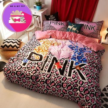 Winter Brand VS Secret Pink Soft Print Fashion Velvet Victoria Sexy Pink Bedding Set Bed Sheets 4PCS Duvet Cover Set Bedspread