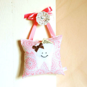 Girls Tooth Fairy Pillow in Honeysuckle Pink by BoutiqueVintage72