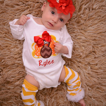 Thanksgiving Outfit Baby Girl – Turkey Embroidered Bodysuit, Headband & Pilka Dot Legwarmers Set Personalized with Name