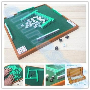 small travel mahjong set mini Mahjong portable mahjiang tiles with table pieces traditional chinese family Board Game