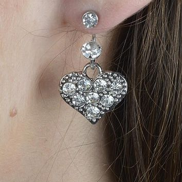 Crystal Studded Heart Shaped Earrings