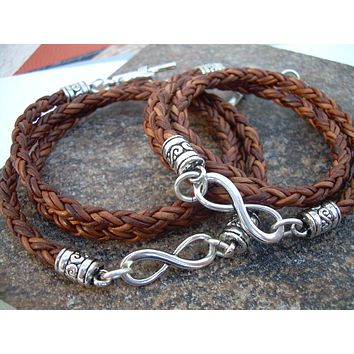 His and Her Bracelets, Set of  Infinity Bracelets, Leather Bracelet, Mens Jewelry, Couples Bracelets,Womens Bracelet,Mens Bracelet, Infinity