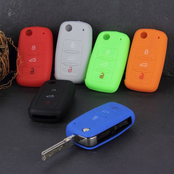 Universal Silicone Car Key Holder Case Cover Candy Color Turma do Chaves Case Car Accessories for Volkswagen for VW