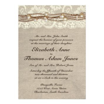 Rustic Burlap Lace Pearls Wedding Invitation 5