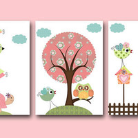 "Art for Children , Kids Wall Art, Baby Boy Room Decor, Nursery print,set of 3 8"" x 10"" Print,tree,owl,giraffe,bird,green,artwork,collage"
