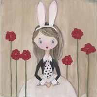 White Rabbit Rabbit Girl Art Print