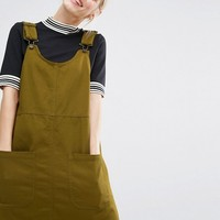 Monki Pocket Front Pinafore Dress at asos.com