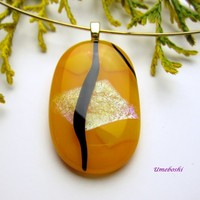 Dazzling Sunshine Smooth Dichroic Glass Handmade Cabochon Pendant