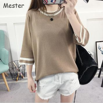 Spring Summer Thin Sweater Women Korean Fashion Color Block Stripe Half Sleeve Loose Knitted Pullover Ice Silk Crewneck Knitwear