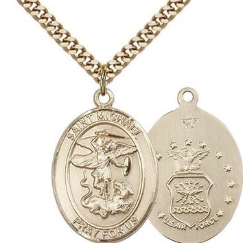 14K Gold Filled St Michael Air Force Military Soldier Catholic Medal Necklace 617759645132