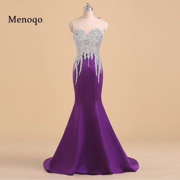 Menoqo Elegant Long Mermaid Purple Prom Dresses Floor Length Sequins Beading Sexy Prom Gown Formal Party