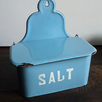 Blue Enamelware Storage Canister Salt Storage Box Antique Country Kitchen,Blue Enamel