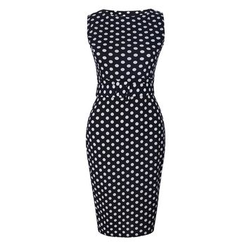 Plus Size Women Clothing Dresses Big Sizes Pencil Dress Elegant Female Polka Dot Sheath Fitted Bodycon Bandage Summer Dresses