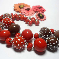 Beaded Jewelry Handmade Lampwork Necklace. Red, orange, coral, white.
