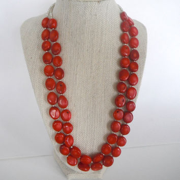 Red Bamboo Coral Double Strand Necklace Silver Beads Gift  Matching EarringsFashion under 40