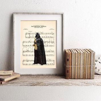 Star Wars Darth Vader Playing Saxophone Imperial March Sheet Music Art Print
