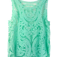 Mint Green Crochet Tank Top