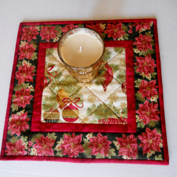 Classic Christmas Quilted Table Topper Candle Mat Poinsettias and Ornaments Gold Red Evergreen