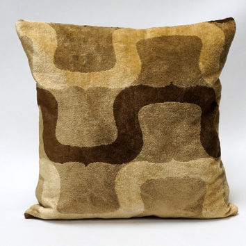 Exclusive Velvet Pillow Cover - handmade from vintage upholstery fabrics, OAK - brown, beige - 45x45 cm / 18x18""