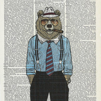 Vintage Art Mr.Bear on Upcycle Vintage Page Book Print Art Print Dictionary Print Collage Print
