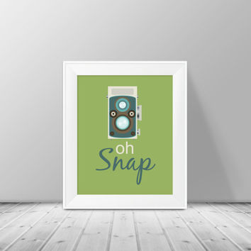 Oh Snap Retro Camera, 8x10 Typography Digital Download Print, Instant Download, Home Decor, Camera Art