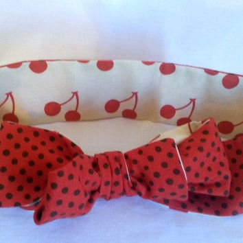 Head Wrap Headwrap - Reversible Polka Dots & Cherries Headwrap - Baby Head Wrap - Knot Tie Headband - Big Bow Head Wrap - Turban Wrap -