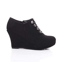 Vance7 By Top Moda, Button Strappy High Wedge Heel Ankle Bootie