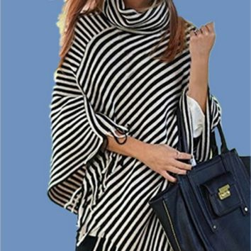 Women Fashion Multicolor Stripe Tassel Turtleneck Cloak Big Shawl Sweater Tops