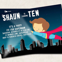 Superhero Birthday Party Invitation, boy, superman, super hero (Digital File) you-print