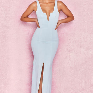 Clothing : Max Dresses : 'Macie' Powder Blue V Front Maxi Dress